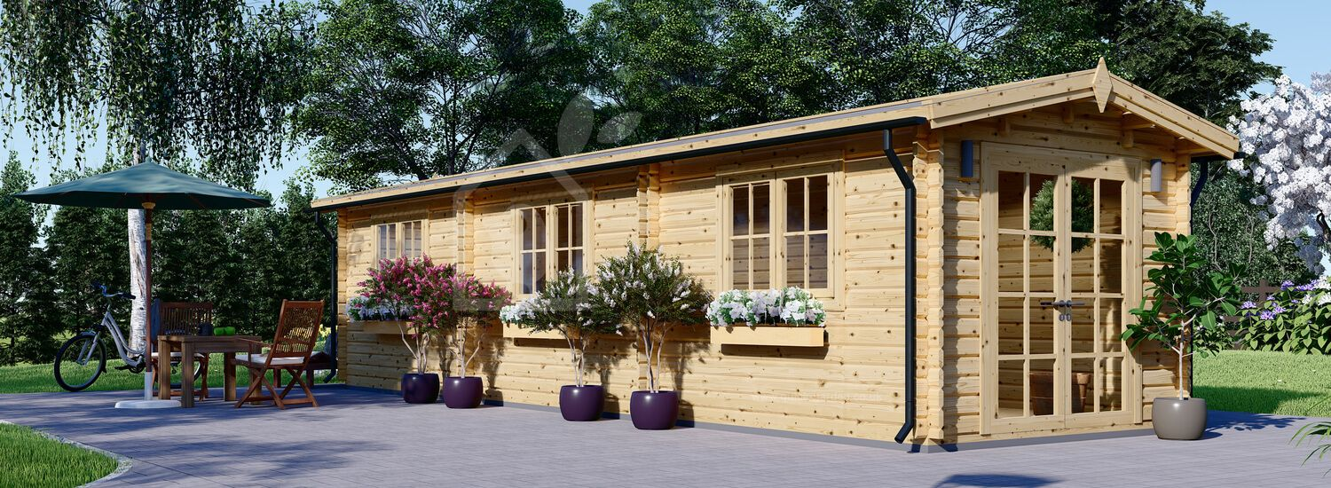 Insulated Log Cabin STRONGHOLD 3m x 10m (10x33 ft) Twin Skin visualization 1