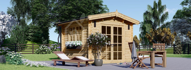 Garden Log Cabin ADAM 3m x 3m (10x10 ft) 44 mm visualization 1