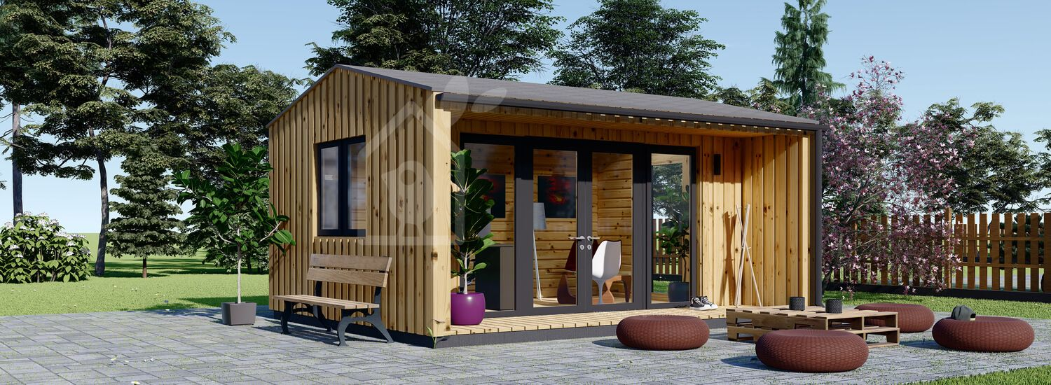 Garden Office TINA (Insulated, 44 + Cladding), 4x4 m (13'x13') visualization 1
