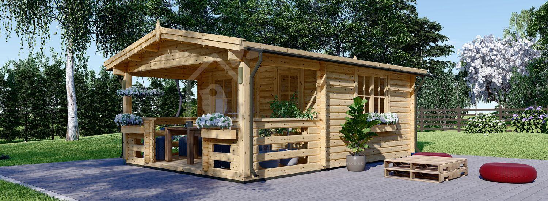Log Cabin SHANON (66 mm), 4x5.75 m (13'x19'), 16 m² + 7 m² Terrace visualization 1