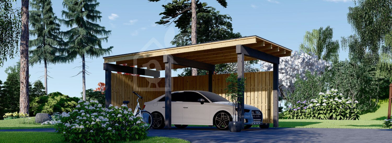 Single Wooden Carport LUNA F With L-shape Wall 3.2x6 m (10'x20') visualization 1
