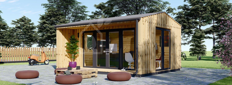 Garden Office TINA (44 mm + Cladding), 5x4 m (16'x13'), 15 m² visualization 1