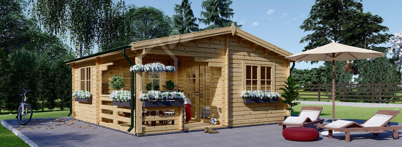 Garden Log Cabin OLIVIA (66 mm), 6x6 m (20'x20'), 27 m² + 8 m² Terrace visualization 1