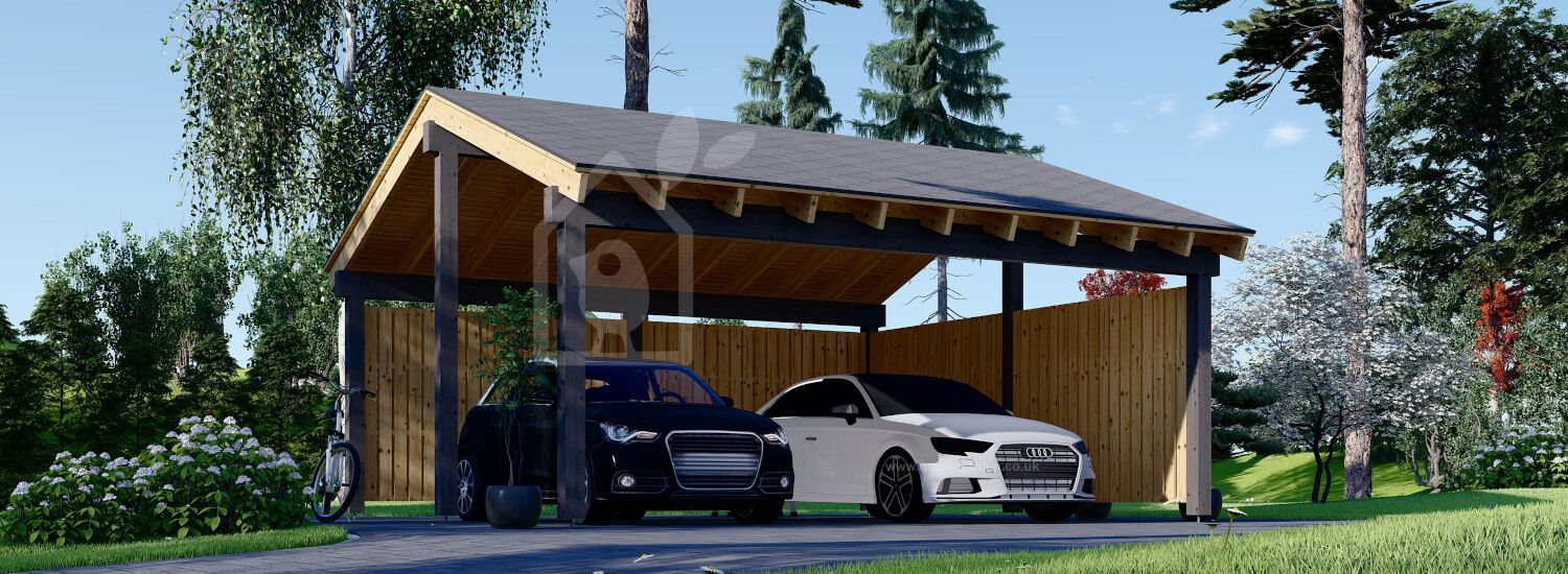 Double Wooden Carport LUNA DUO With L-shape Wall 6x6 m (20'x20') visualization 1