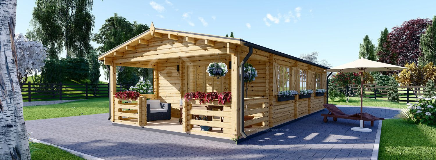 Residential Log Cabin HYMER (44+44 mm + Insulation), 42 m² With 10 m² Terrace visualization 1