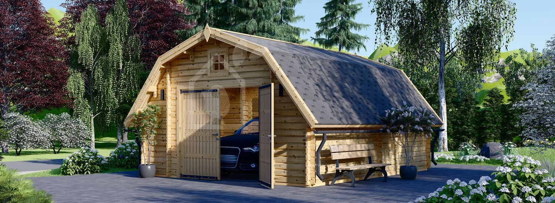 Single Wooden Garage BARN (44 mm), 5x6 m (16'x20') visualization 1