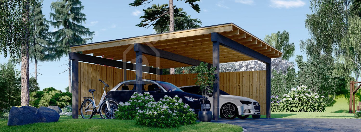 Double Wooden Carport LUNA DUO F With L-shape Wall 6x6 m (20'x20') visualization 1