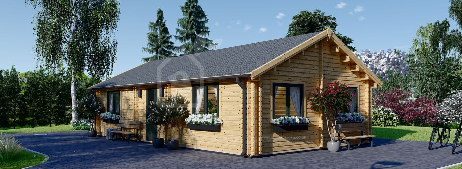 Residential Log Cabin GRETA (Insulated, BRF, 44+44 mm), 54 m² visualization 1