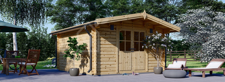 Garden Log Cabin PALMA (34 mm), 4x4 m (13'x13'), 16 m² visualization 1