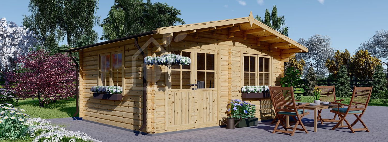 Log Cabin LILLE (44+44 mm + Insulation), 4x5 m (13'x16'), 20 m² visualization 1