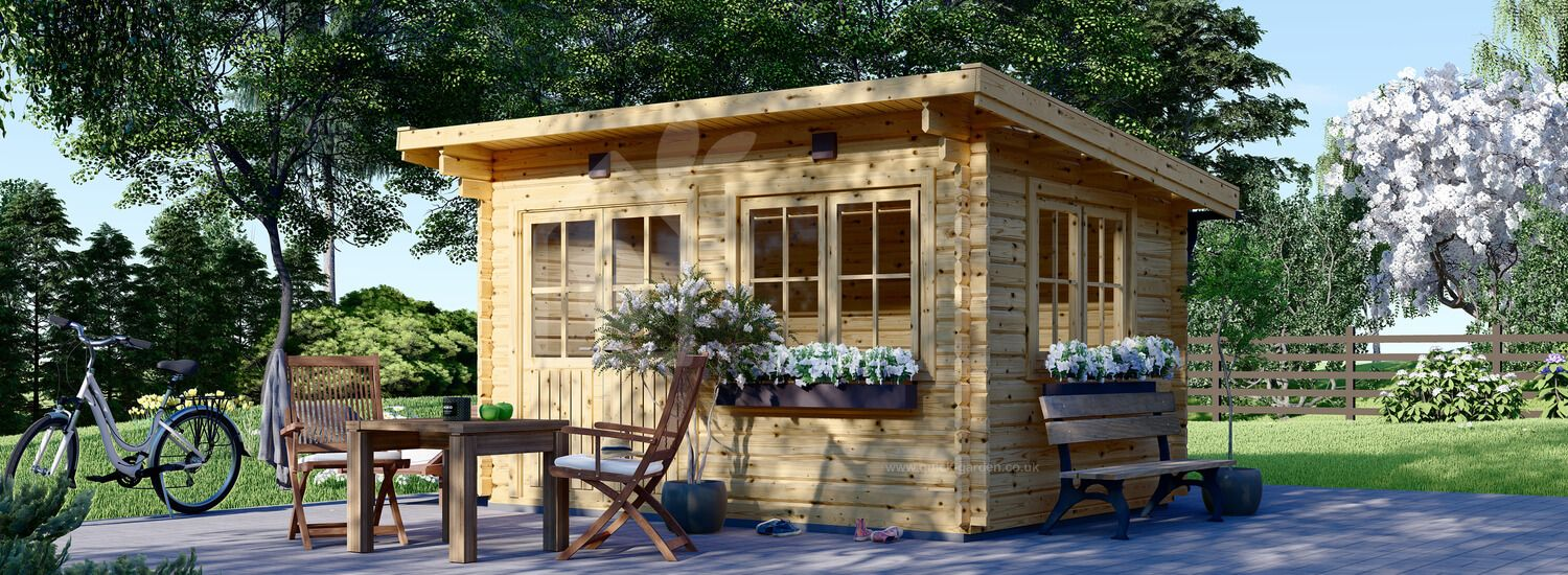 Garden Log Cabin With A Flat Roof LILLE (34 mm), 4x3 m (13'x10'), 12 m² visualization 1