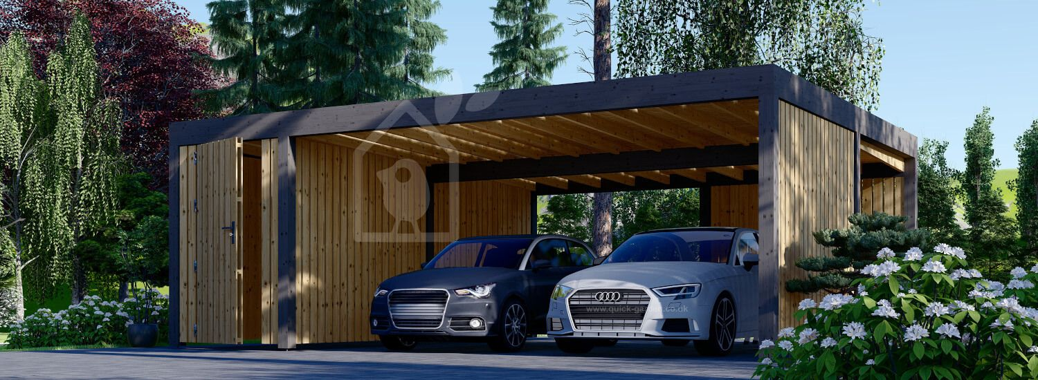 Double Wooden Carport With A Shed LUNA DUO F PLUS, 7.6x5.6 m, With A Side Wall visualization 1