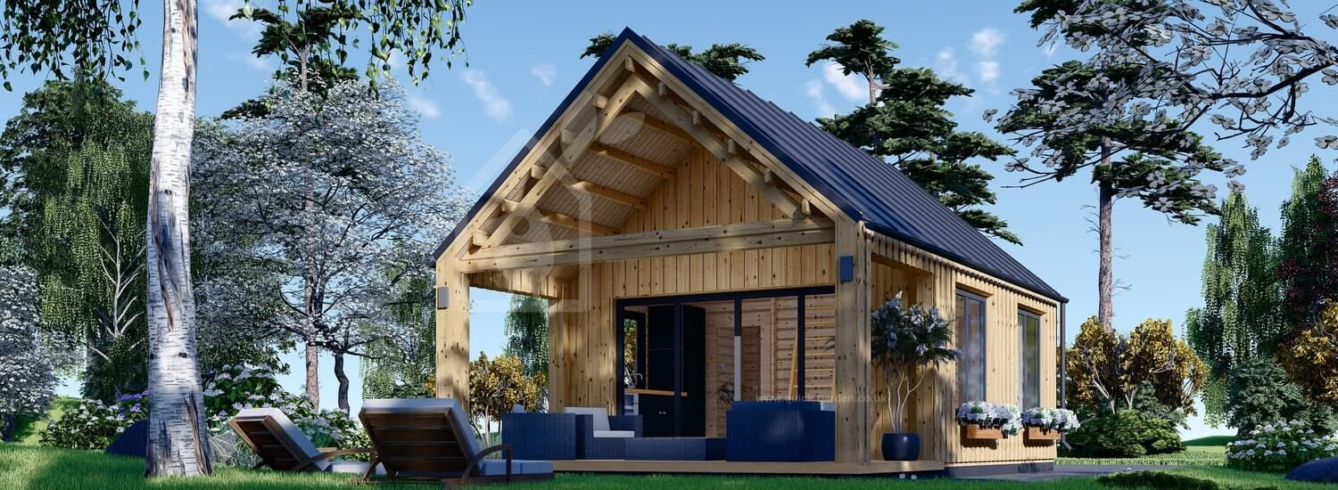Residential Log Cabin AGATA With Loft (Insulated, 44 mm + Cladding, BRF), 39 m²  visualization 1