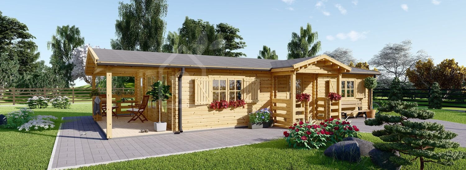 Residential Log Cabin DONNA 12.5m x 6m (41x20 ft) 44 mm visualization 1