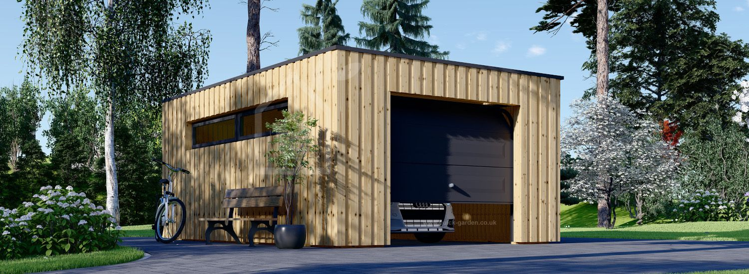 Single Wooden Garage With Flat Roof STELA F (Timber Frame), 3.2x5.2 m (11'x17'), 16.6 m² visualization 1