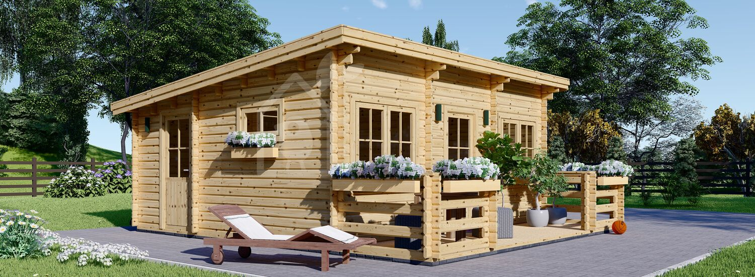 Log Cabin ALTURA F With A Flat Roof (44+44 mm + Insulation), 31 m² With 8 m² Terrace visualization 1
