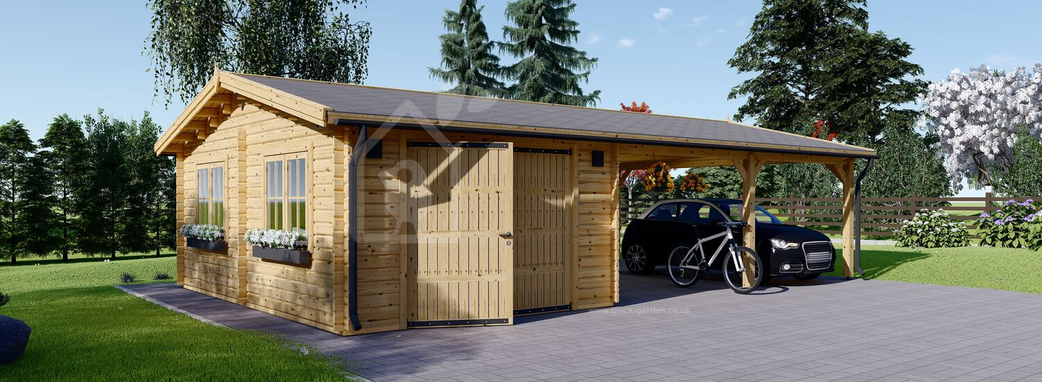 Single Wooden Garage with Double Carport 9.5m x 6m (32x20 ft) 44 mm visualization 1