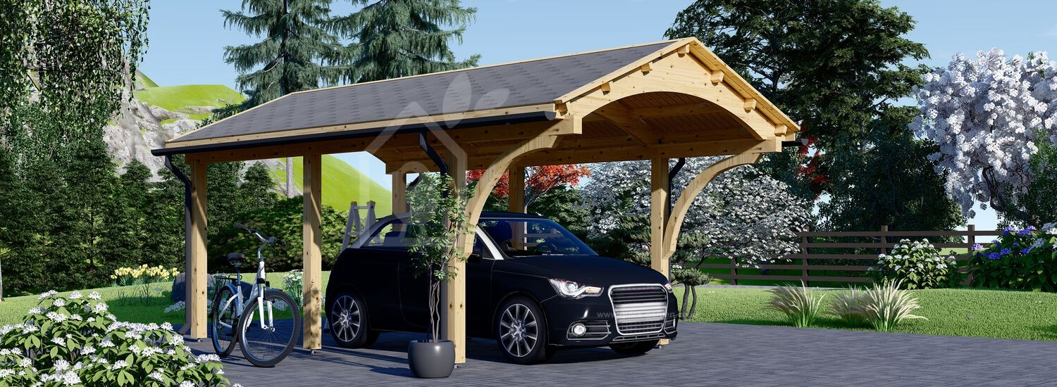Single Wooden Carport BETSY 3.6m x 6m (12x20 ft) visualization 1