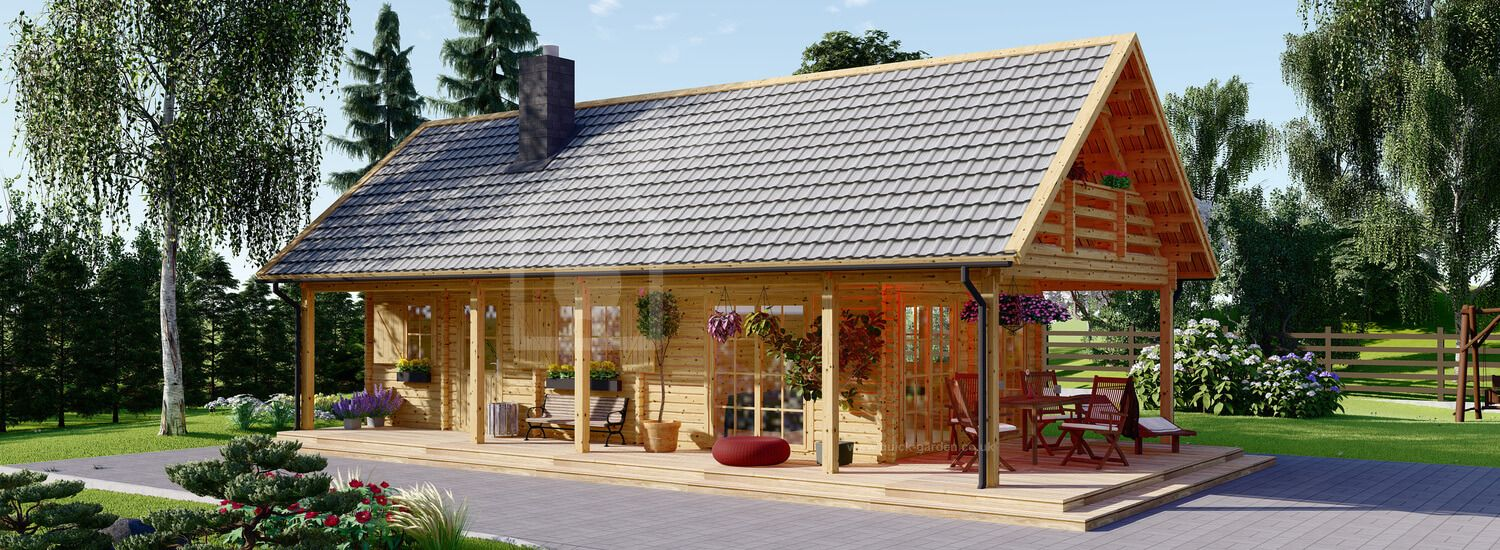 Log Cabin House AURA (66 mm), 100 m² With 35 m² Terrace visualization 1