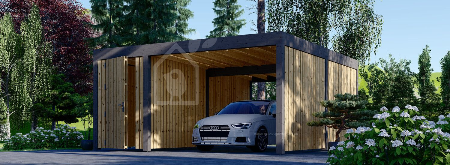 Single Wooden Carport With A Shed LUNA F PLUS, 4.9x5.6 m, With A Side Wall visualization 1
