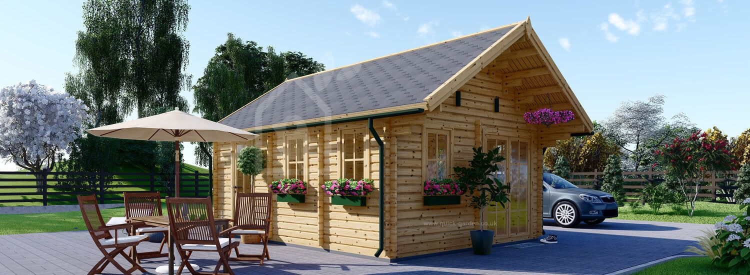 Insulated Residential Log Cabin SCOOT 4.5m x 6m (15x20 ft) Twin Skin visualization 1