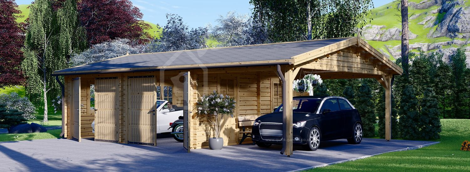Double Wooden Garage With Single Carport 9m x 6m (30x20 ft) 44 mm visualization 1