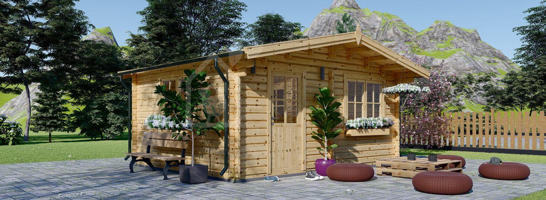 Log Cabin NINA (44+44 mm + Insulation), 5x5 m (16'x16'), 25 m² visualization 1