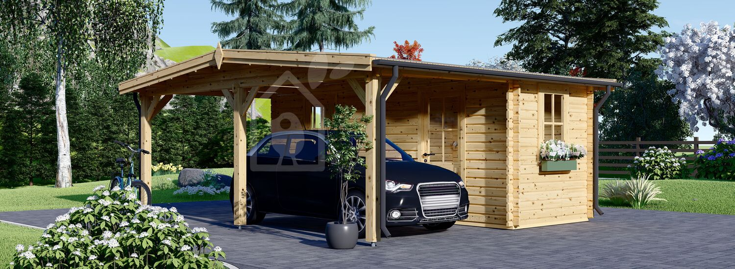 Single Wooden Carport With Shed 5m x 6m (16x20 ft) 44 mm visualization 1
