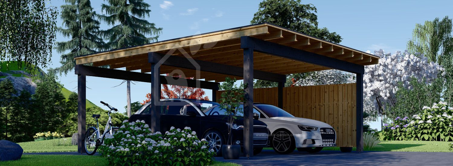 Double Wooden Carport LUNA DUO F With A Side Wall 6x6 m (20'x20') visualization 1