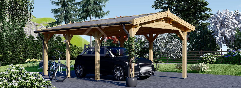 Single Wooden Carport CLASSIC 3m x 6m (10x20 ft) visualization 1