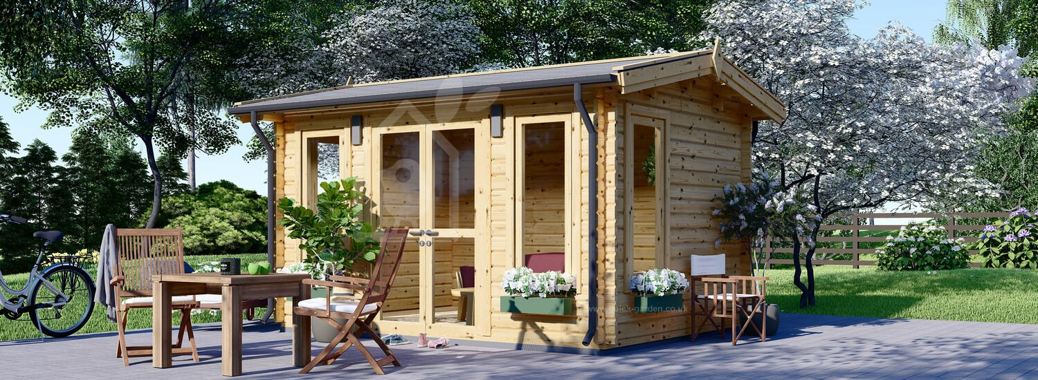 Insulated Garden Room POOLHOUSE 4m x 3m (13x10 ft) Twin Skin visualization 1