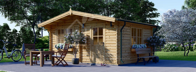 Insulated Log Cabin DREUX 5m x 4m (16x13 ft) Twin Skin visualization 1