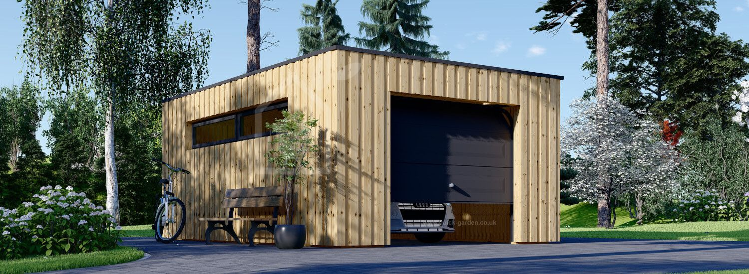 Single Wooden Garage With Flat Roof STELA F (Timber Frame), 4x6 m (13'x20'), 24 m² visualization 1