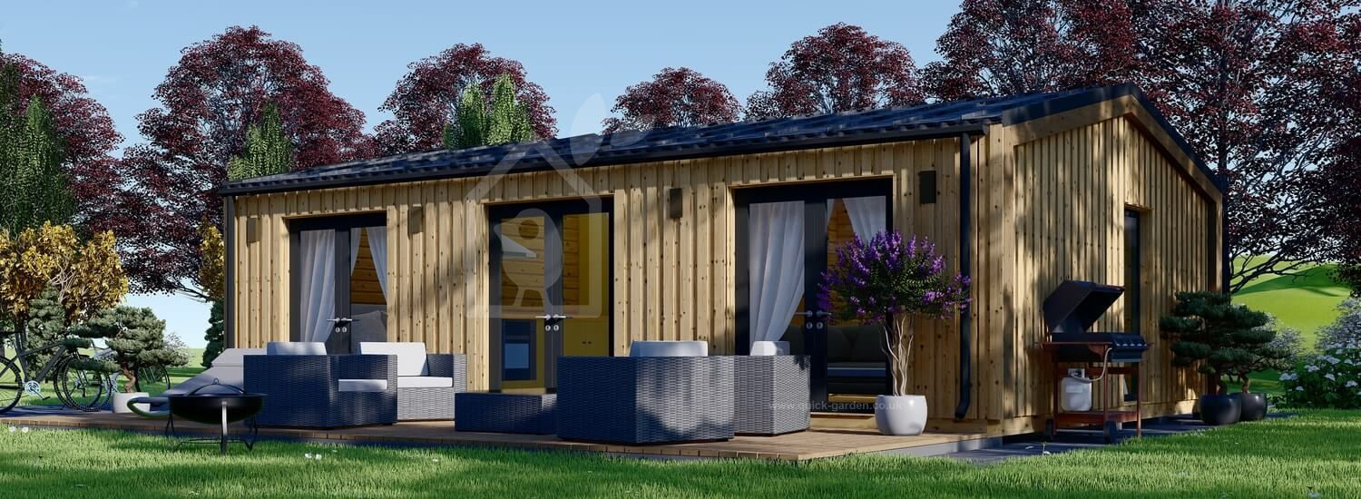 Granny Annexe ANGELA M (Insulated, 44 mm + Cladding), 8.2x6.2 m (27'x 20'), 50 m² visualization 1