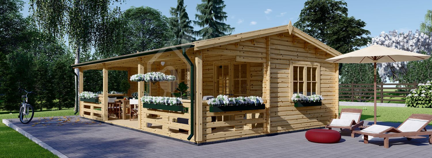 Insulated Residential Log Cabin AMELIA 9m x 6m (30x20 ft) Twin Skin visualization 1
