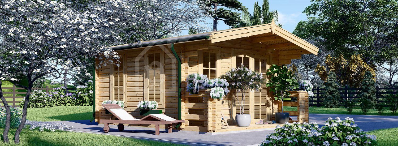 Garden Log Cabin KING (44+44 mm + Insulation), 4x5 m (13'x16'), 20 m² visualization 1