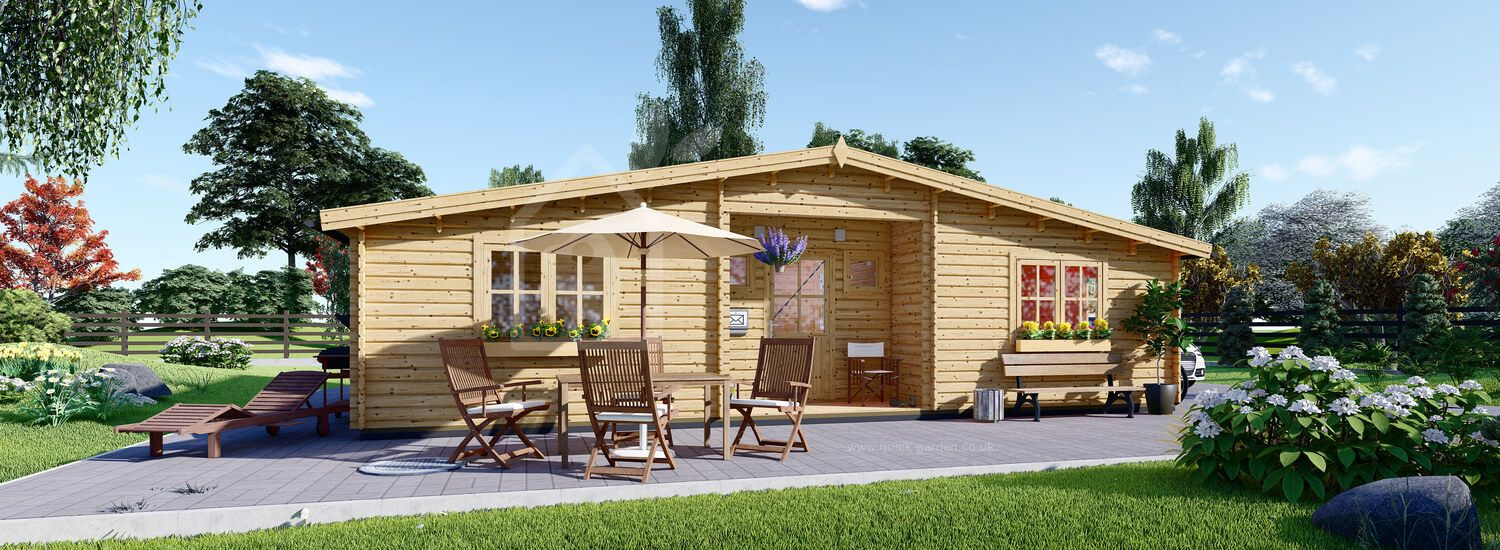 Residential Log Cabin FILL 10.5m x 6m (35x20 ft) 44 mm visualization 1