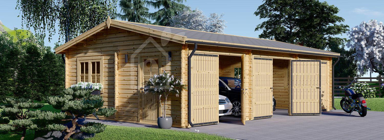 Triple Wooden Garage 9m x 6m (30x20 ft) 44 mm visualization 1