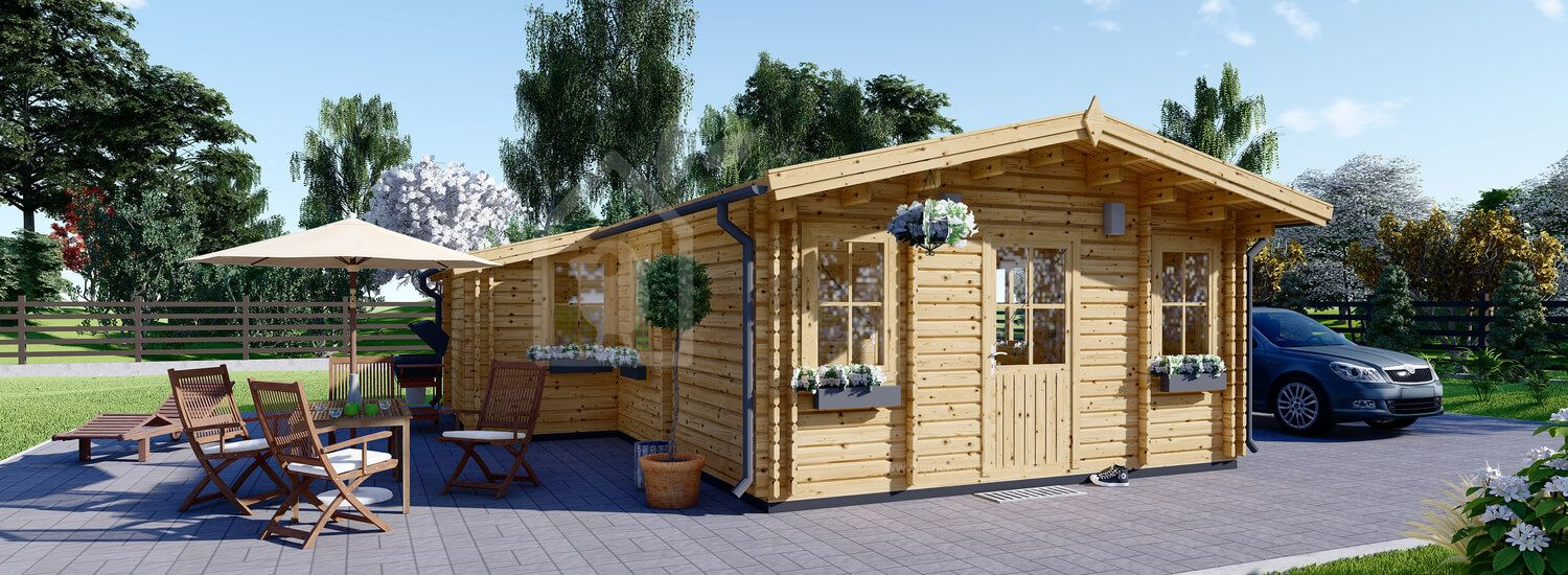 Insulated Residential Log Cabin DIJON 6.6m x 7.8m (22x26 ft) Twin Skin visualization 1
