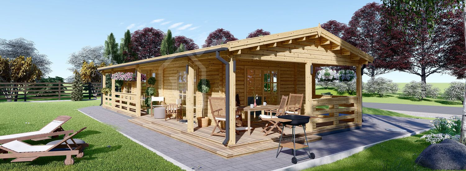 Log Cabin TOSCANA (44 mm), 53 m² With 29 m² Terrace visualization 1