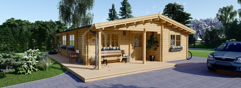 Log Cabin House LINDA 8m x 12m (26x40 ft) 66 mm visualization 1