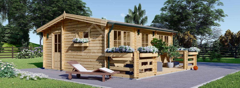 Residential Log Cabin ALTURA 6m x 6.7m (20x22 ft) 44mm visualization 1