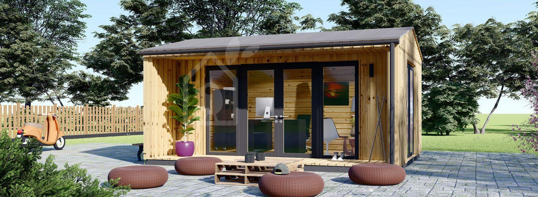 Garden Office TINA (44 mm + Cladding), 5.5x4 m (18'x13'), 16.5 m² visualization 1