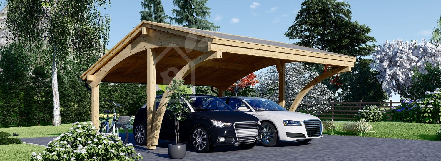 Double Wooden Carport CORA DUO 5.9m x 5.9m (19x19 ft) visualization 1