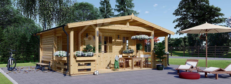 Garden Log Cabin PARIS (44 mm), 6.7x5.7 m (22'x19'), 21 m² + 11 m² Terrace visualization 1
