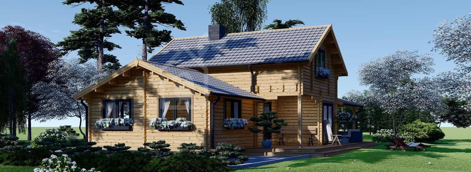 Insulated Log Cabin House HOLLAND 13.5m x 7.5m (44x25 ft) Twin Skin visualization 1