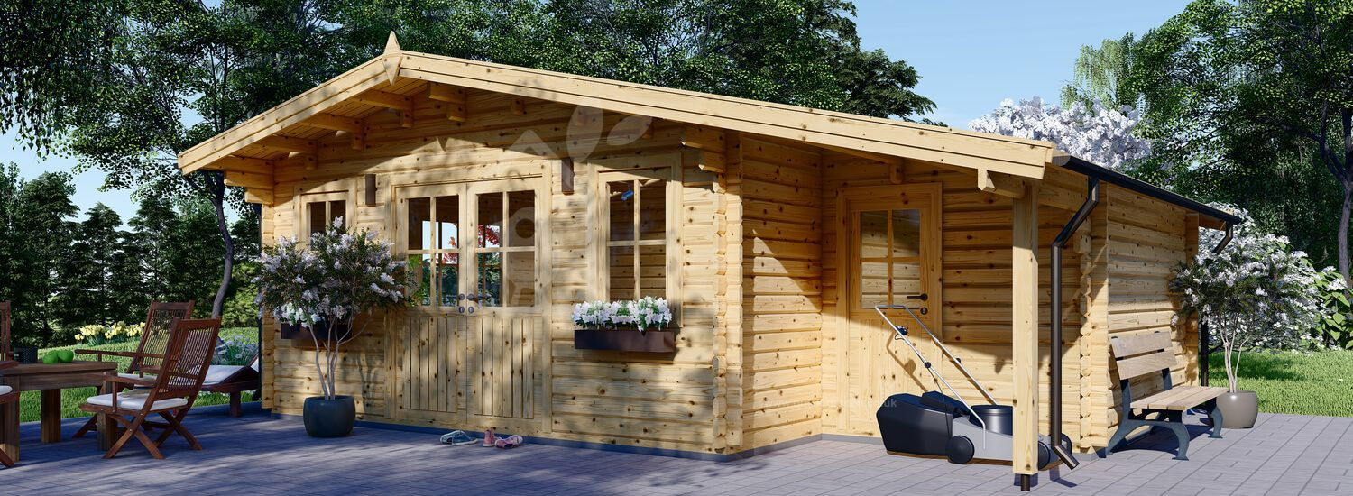 Garden Log Cabin CLARA With Shed Attached (66 mm), 7x4 m (23'x13'), 28 m² visualization 1