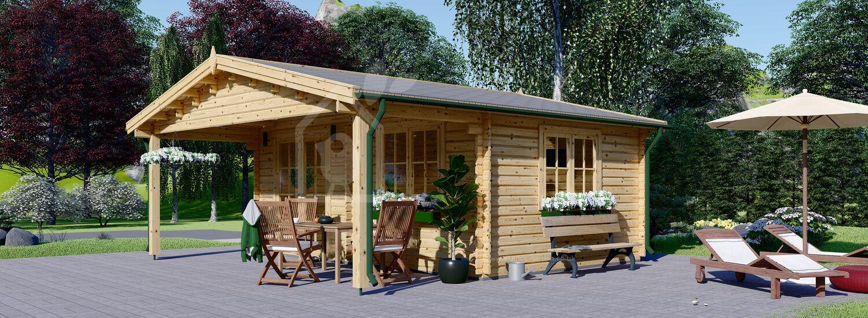 Log Cabin CAMILA (44+44 mm + Insulation), 6x6 m (20'x20'), 36 m² visualization 1
