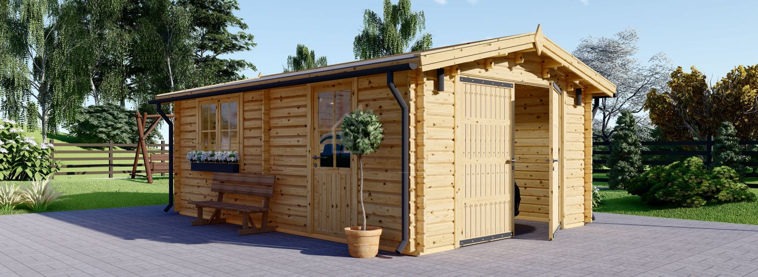 Single Wooden Garage 3.2m x 5.2m (11x17 ft) 44 mm visualization 1