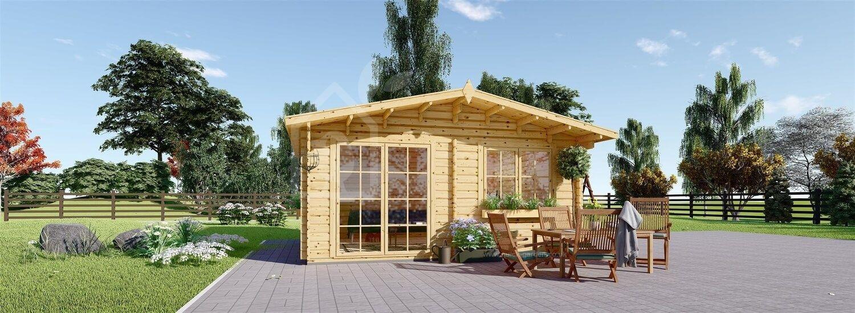 Garden Log Cabin WISSOUS (34 mm), 4x3 m (13'x10'), 12 m² visualization 1